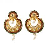 Surat Diamond Traditional Round Shaped Red, Green & White Stones & Gold Plated Dangling Fashion Earrings Pse1
