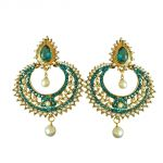Surat Diamond Fancy Blue Coloured Stone, Shell Pearl & Gold Plated Chand Bali Earrings Pse27
