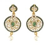 Surat Diamond Round Shaped Green & White Coloured Stone, Shell Pearl & Gold Plated Dangling Earrings For Women Pse28