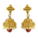Surat Diamond Traditional Gold Plated Copper White & Red Coloured Stone Jhumki Earring