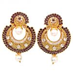 Surat Diamond Traditional Round Shaped Purple & White Stone & Gold Plated Dangling Fashion Earrings For Women Pse8
