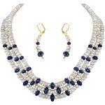 Surat Diamond - Three Line Freshwater Pearl & Sapphire Beads Set - Sn662