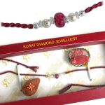 Surat Diamond Fine Real Red Ruby Rakhi Snrb1