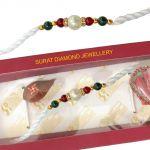 Surat Diamond Traditional Red & Green Stone & Shell Pearl Rakhi Snsh1