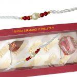 Surat Diamond Shell Pearl & Red Coloured Stone Rakhi Snsh2