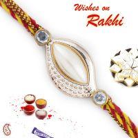 Beautiful White Pearl Rakhi Online