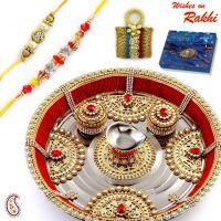 Metal Foil And Kundan Work Rakhi/rakhshabandhan Thali - Thalis