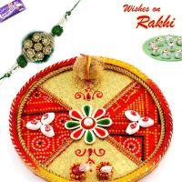 Bandhni Rakhi/rakhshabandhan Thali With Sea Shells And Sweets - Thalis