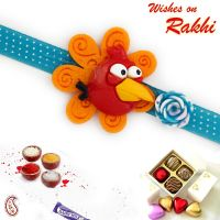 Red Angry Bird With Blue Wrist Band Kids Rakhi Online