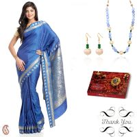 Blue Art Silk Saree & Matching Necklace Set Hamper For Sister