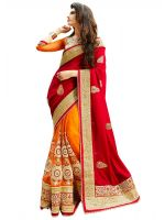 Styloce Red & Orange Embroidered Saree.STY-9076