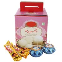 Rasgulla, Chocolates & Diya