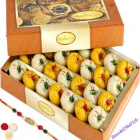 Rakhi Gifts Sweets-Ghasitarams Mawa Peda Box with Oval Rudraksh Rakhi