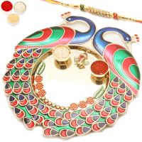 Rakhi Gifts For Abroad - Colourful Peacock Pooja Thali