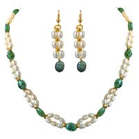 Surat Diamond Real Natural Oval Emerald, Rice Pearl & Gold Plated Beads Necklace & Earring Set