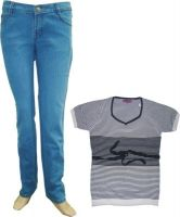 Tng Ladies Jeans And T-shirt Combo Rl-3+fk-012