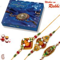 Rakhi gifts - Set of 3 Divine Rakhis with Cadbury Celebartion Box