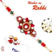Buy rakhi online - Rakhi gifts - Floral Shape Red Crystal Stone and AD Studded Rakhi