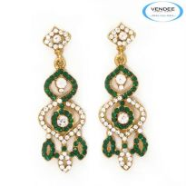 Vendee Fashion Green Alloy Earring 3545A
