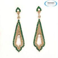 Vendee Fashion Green Alloy Earring 3570C