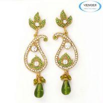 Vendee Fashion Green Alloy Earring 3620F