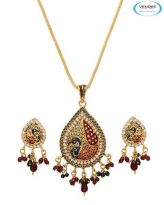 Vendee Fashion Maroon & Green Brass Pendant Set 6523