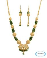 Vendee Fashion Golden & Green Alloy Necklace Set 6781