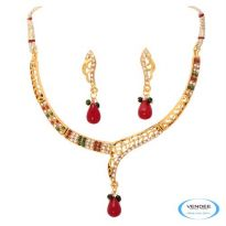 Vendee Fashion Maroon & Green Alloy Necklace Set 6784