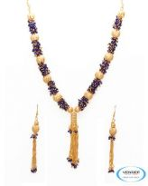 Vendee Fashion Golden & Blue Alloy Necklace Set 6804
