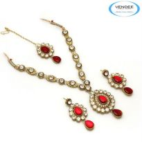 Vendee Fashion Red Alloy Necklace Set 6827