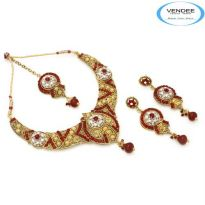 Vendee Fashion Maroon Alloy Necklace Set 6859