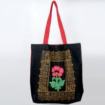 Pick Pocket Canvas Black And Red Tote  Hand Bag Toblkrflr1