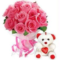 Pink Roses With Teddy Bear - Flowers