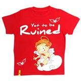 Stylish Red Round Neck T Shirt in Red for Boys
