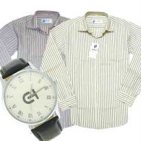 2 Formal Full Sleeves Stripe Shirt With Free Watch