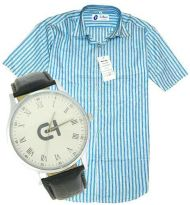 Formal Half Sleeves Stripe Shirt With Formal Watch