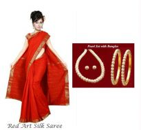 Combo Of Art Silk Saree With Pearl Jewellery Set