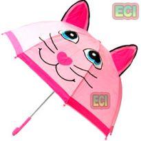 Premium Girls Kitty Cat Kids Umbrella Button Automatic For School Children