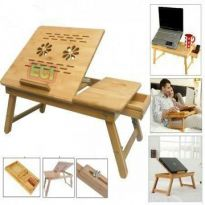 Folding Laptop Table Notebook Cooling Stand Wooden For Study, Bed Breakfast