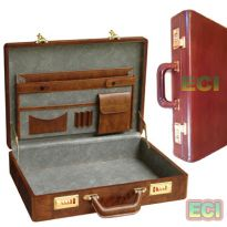 Brown Leather Executive Briefcase Vintage Gents CEO Office Bag Attachi case