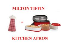 Milton Carry Double Decker Food Dabba Lunch Tiffin   Kitchen Apron Cotton.