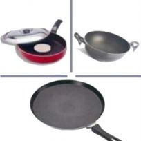 Set Of 3 Non Stick Cookware Set.Tawa,Kadai,Frying Pan