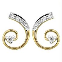 Bling! Real Gold And Diamond Curve Style Earring