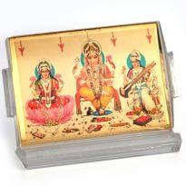 LM 532 Laxmi Ganesh Saraswati Gold Stand