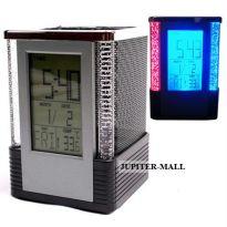 DIGITAL ALARM TABLE CLOCK PEN HOLDER STAND P01
