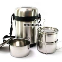 3 Container BONJOUR Insulated Hot Lunch Pack Tiffin Box Home Picnic -06