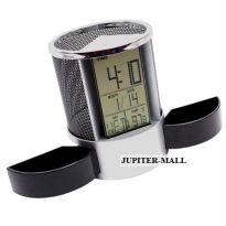 DIGITAL ALARM TABLE CLOCK PEN HOLDER STAND P02