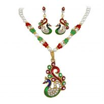 Suratdiamond - Traditional Peacock Fashion Jewellery Set