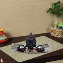 Hand carved wood Tray with Buddha Head and Tea lig