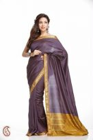 Doriya Purple Art Silk Saree with Golden Double Bo